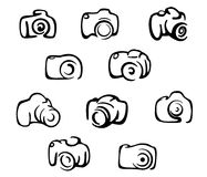 Camera icons and symbols set vector illustration