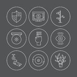 Camera Icons. Video surveillance icons made in modern line style. Secutiry cameras illustration. Monitored area and protection of property concept Stock Photos