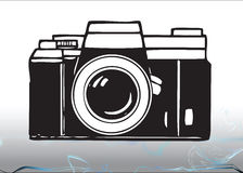 Camera illustration. An illustration of a 35mm camera in black and white
