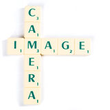 Camera and Image Crossword Using Scrabble Tiles Stock Photo