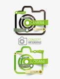 Camera infographics with tag cloud design Stock Photos