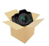 Camera inside a box Stock Photo