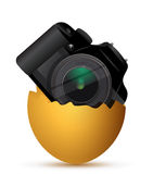 Camera inside a broken egg Royalty Free Stock Photo