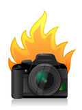 Camera on fire. Camera inside a broken egg illustration design over white Royalty Free Stock Photography