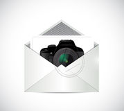 Camera inside an envelope illustration design Stock Photo