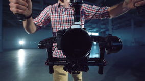 Camera installed on the electronic video stabilizer stock footage