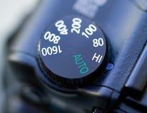 Camera ISO dial. Macro, shallow dof Stock Image