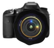 Camera isolated. Camera with aiming lens isolated on white royalty free illustration