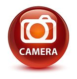 Camera glassy brown round button. Camera isolated on glassy brown round button abstract illustration Stock Photos