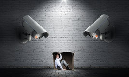 Camera keep an eye on man Stock Photos
