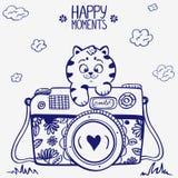 Camera kitten vector illustration