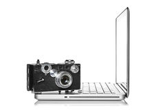 Camera and laptop Royalty Free Stock Photos