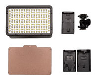 On-camera LED video light kit flat lay. Royalty Free Stock Photos