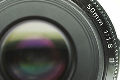 Camera lens. Close up shot, against a white background stock images