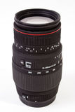 CAMERA LENS. Telephoto camera lens - white isolated ( portrait format Royalty Free Stock Photo