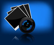 Camera lens. Illustration of camera lens and a photo on a dark background Stock Images
