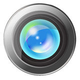Camera lens. With  refection of sky isolated Royalty Free Stock Photo
