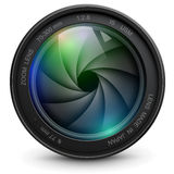 Camera lens. Camera photo lens with shutter stock illustration