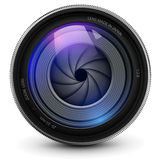 Camera lens. Camera photo lens with shutter Stock Photo