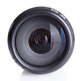 Camera lens. Slr camera lens closeup with a slight reflection beneath Stock Image
