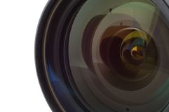 Camera lens. Close-up of camera lens with an apple's reflection Stock Photos