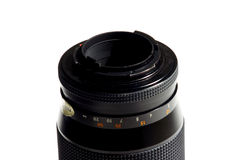 Camera lens. Close up of camera lens on white background Stock Photos