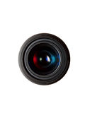 Camera lens. A camera lens top view against a white background. Nice colorful reflections on the glass royalty free stock photo