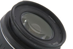 Camera lens. Macro shooting isolated on white background Stock Images