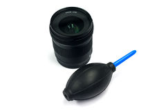 Camera lens and air blower Stock Photos
