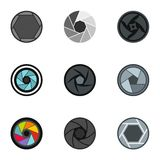 Camera lens aperture icons set, flat style. Camera lens aperture icons set. Flat illustration of 9 camera lens aperture vector icons for web Royalty Free Stock Images
