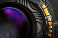 Camera lens back sight. Royalty Free Stock Images