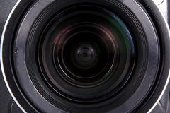 Camera Lens Background. A background with a closeup view of a digital camera lens Stock Image