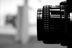 Camera lens in black and white stock photos