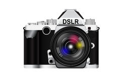 Camera with lens. Camera body and colorful lens. vector illustration Royalty Free Stock Photo