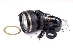 Camera lens broken Stock Image