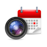 Camera lens and calendar. Icon of camera lens and calendar with marked day Royalty Free Stock Photos