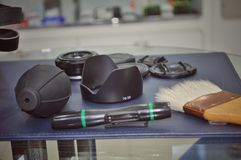 Camera and lens cleaning tools stock images