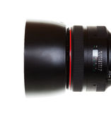 Camera Lens with Clipping Path. An 85mm prime SLR camera lens with clipping path Stock Photos