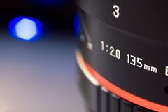 Camera lens close up Stock Photography