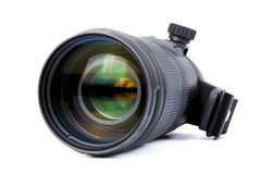 Camera lens close-up. On a white background Stock Photos
