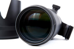 Camera lens close-up. On a white background Royalty Free Stock Images