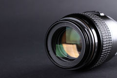 Camera lens closeup. Photo camera lens closeup with highlighted aperture Royalty Free Stock Photos