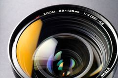 Camera lens closeup (2). This sample is from an SLR (single lens reflex Stock Photo