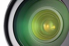 Camera lens closeup. Isolated on white Stock Photos