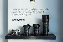 Camera and Lens. Contemporary style Royalty Free Stock Image