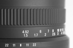 Camera lens detail at focal length Royalty Free Stock Images
