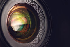 Camera lens. Detail, front glass of wide angle photography DSLR , macro shot Stock Photography