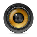 Camera lens eye. Camera lens  on white background. Illustration orange eye Royalty Free Stock Photos