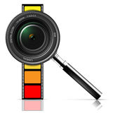 Camera lens and film Stock Images