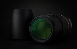 Camera lens, filter, hood and lens cap Stock Photography